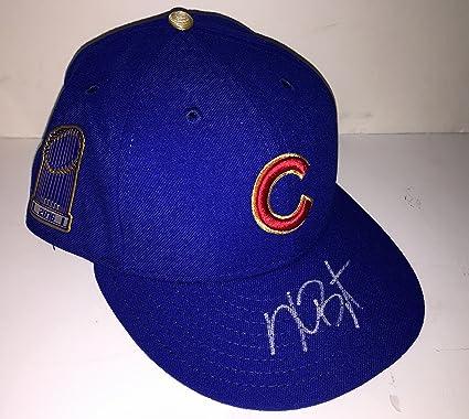 bf1e29566ea Amazon.com  Kris Bryant Autographed Cubs 2016 World Series Gold Cap ...