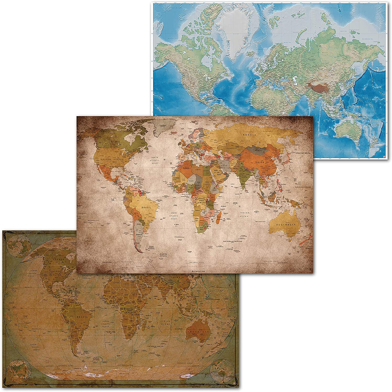 GREAT ART Juego de 3 Carteles XXL – mapas del Mundo clásico – Mapa del Mundo Retro e histórico Proyección de Mercator Globo Atlas continentes Mural póster Cada uno140 x 100 cm: Amazon.es: Hogar