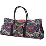 Yoga Mat Tote Bag Carrier Patterned Canvas with Pocket and Zipper