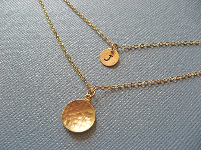 085f72a5d9e8ea Image Unavailable. Image not available for. Color: Hammered Disc Layering  Necklaces ...