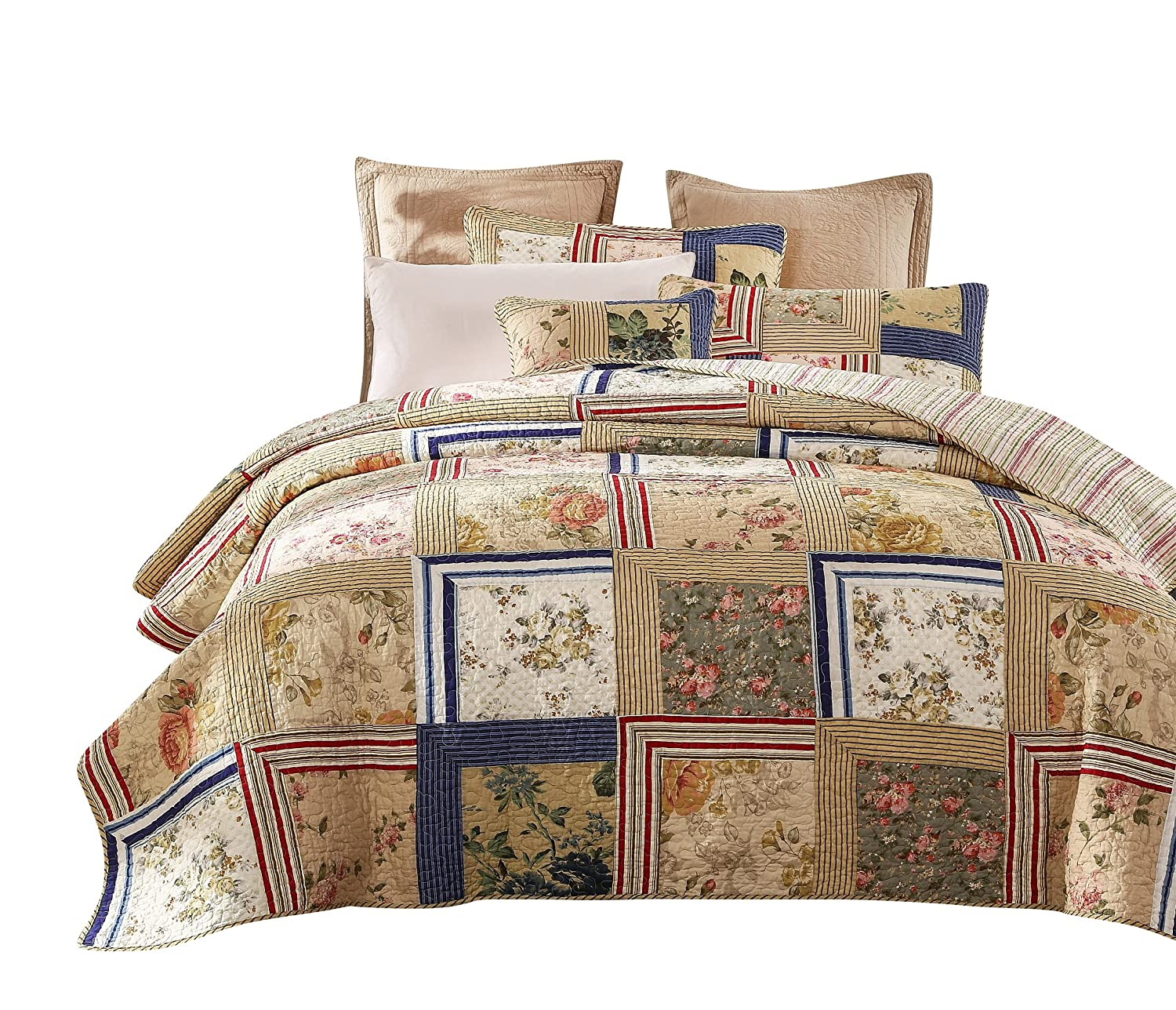 Tache Home Fashion Japanese Emperor Garden Floral Patchwork Quilt Bedspread Set, Queen,