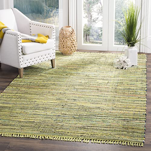 Safavieh Rag Rug Collection RAR127D Hand Woven Light Green and Multi Cotton Area Rug 8 x 10