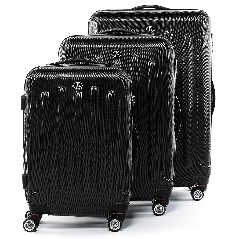 FERGÉ® ensemble de 3 valises LYON set trois trolley - rigide léger bagages à main 4 roulettes doubles 365 degrés cabine gris