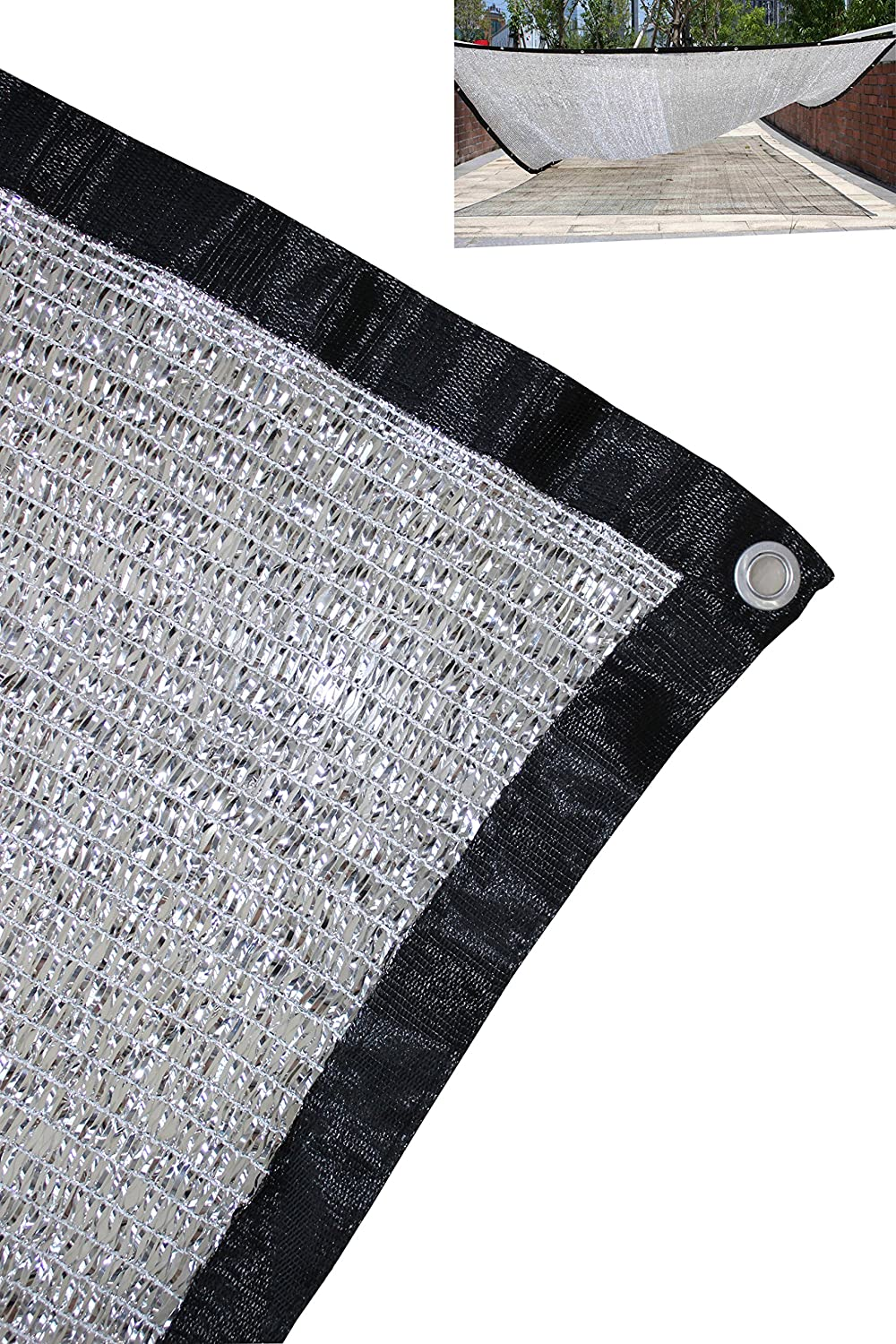 Jesasy 70% 10 ft x 14 ft Aluminet Shade Cloth Panels with Grommets