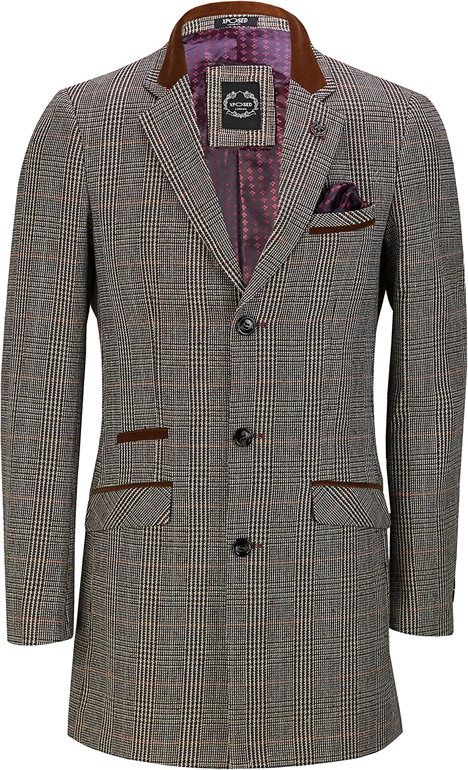 Xposed Mens Tweed Check 3//4 Long Overcoat Smart Vintage Styled Tailored