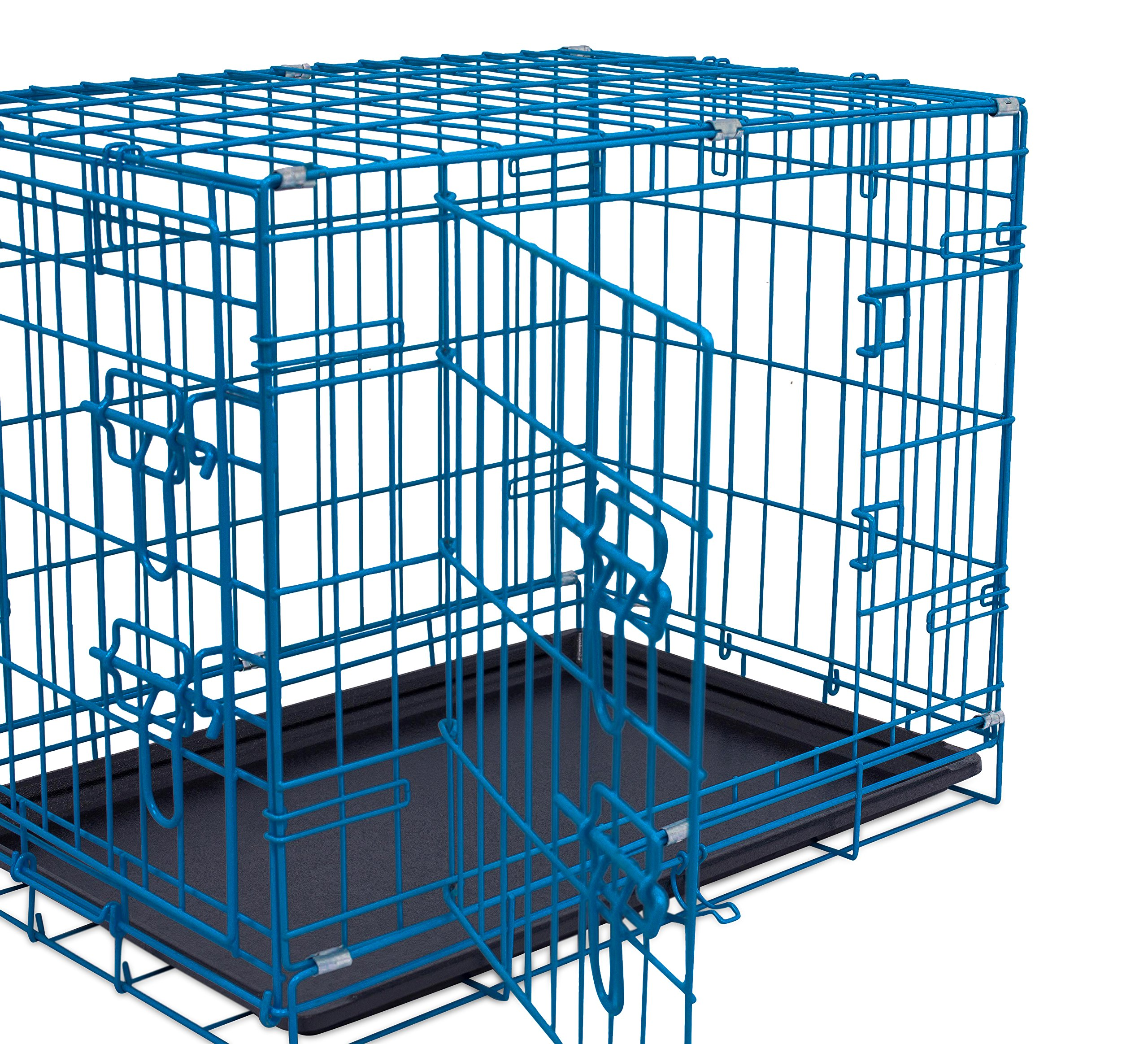 Internet's Best Double Door Steel Crates Collapsible and Foldable Wire Dog Kennel, 24 Inch (Small), Blue by Internet's Best (Image #6)