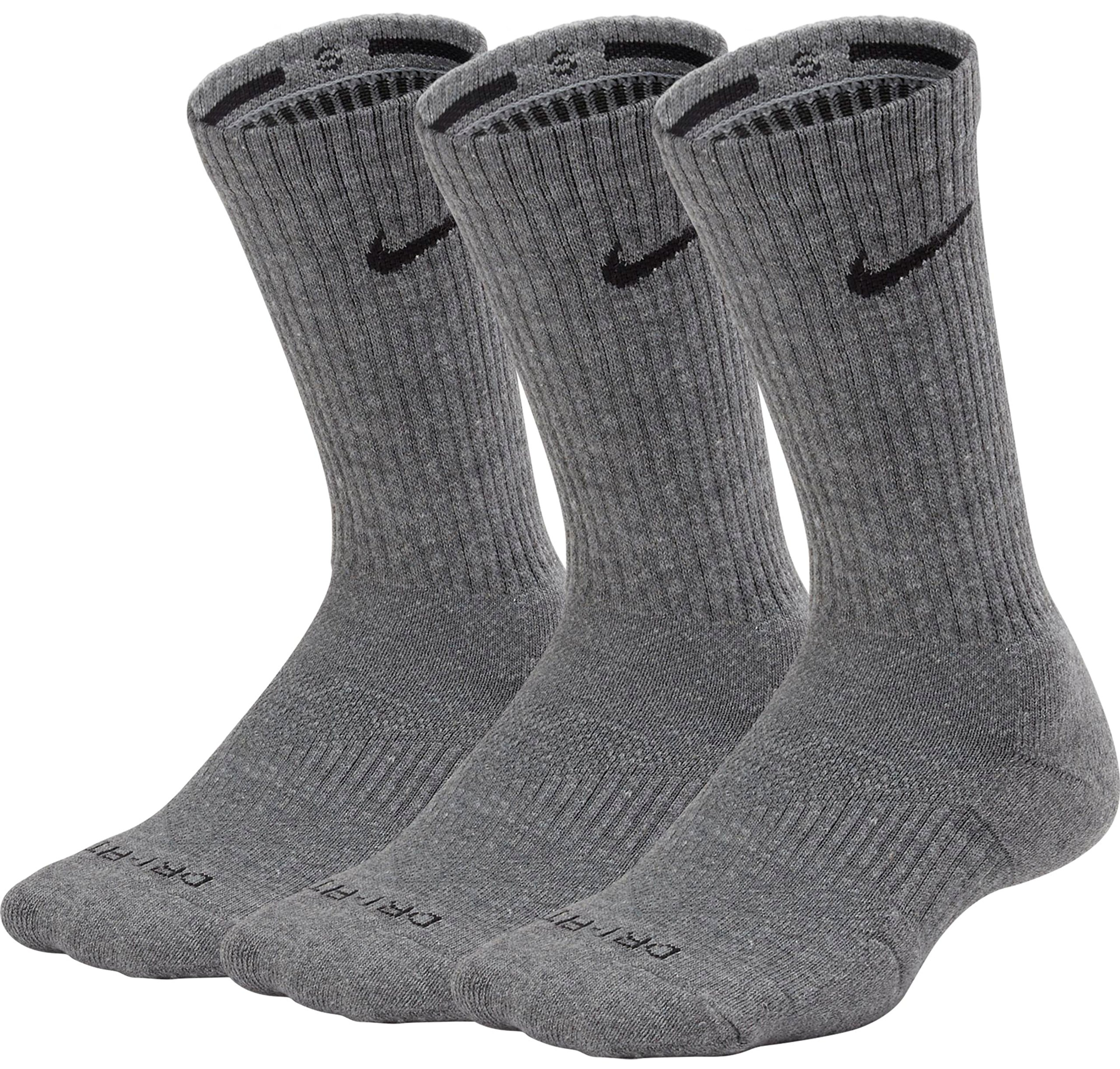 Nike Unisex Dry Cushion Crew Training Sock (3 Pair) (Carbon Heather/Black, Large)