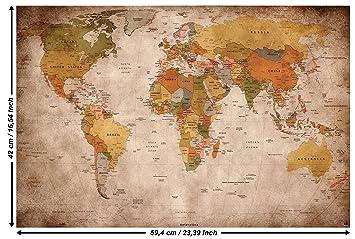 GREAT ART Poster – Weltkarte – (59,4 x 42 cm) Wandbild Dekoration Old  School Vintage World-Map Globus Kontinente Atlas Retro-Weltkugel Geografie  ...