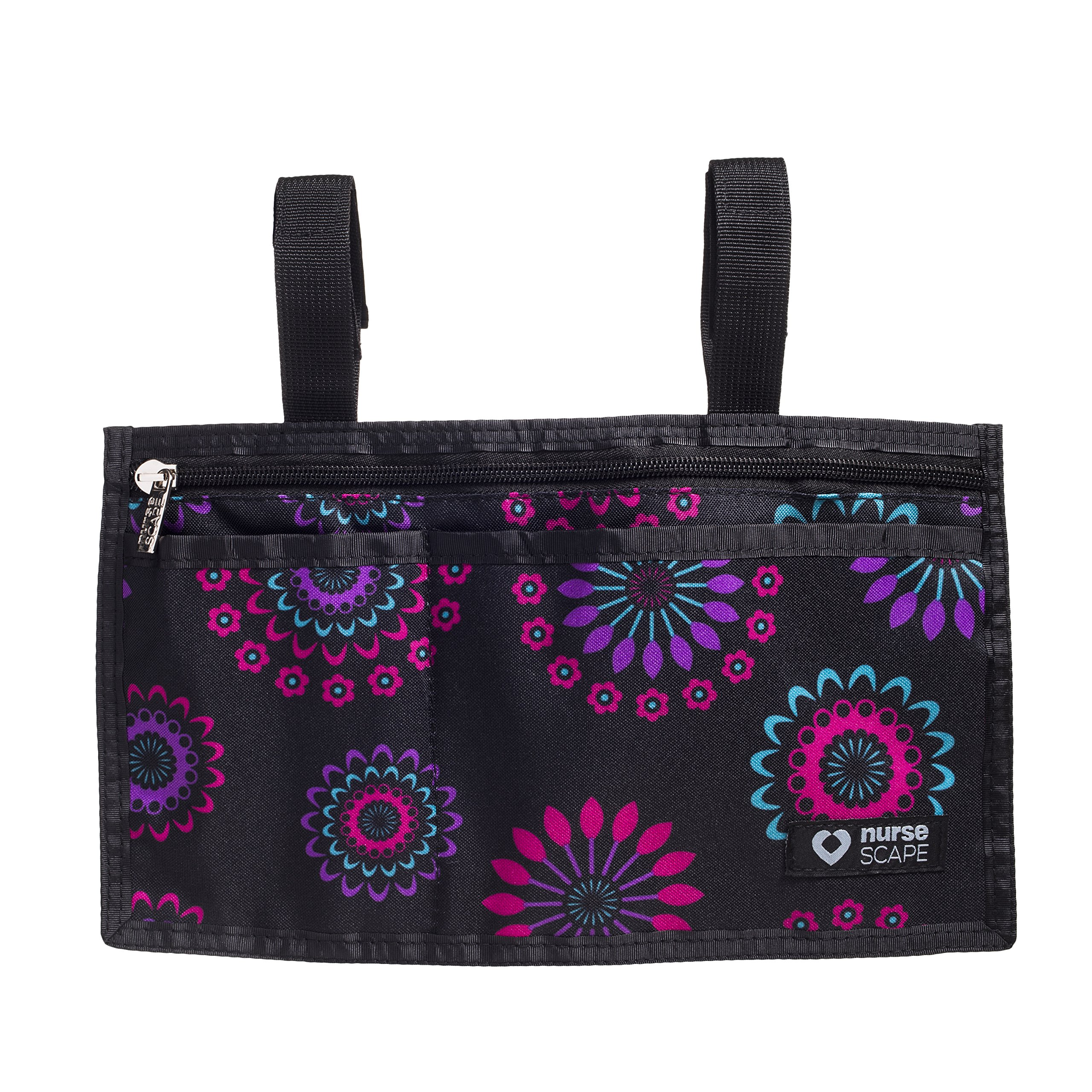 Wheelchair Armrest Pouch Organizer Bag for Side of Chair, 3 Pocket Tote, Arm Rest Storage Accessories for Electric, Manual or Powered Chairs (Purple Circle)