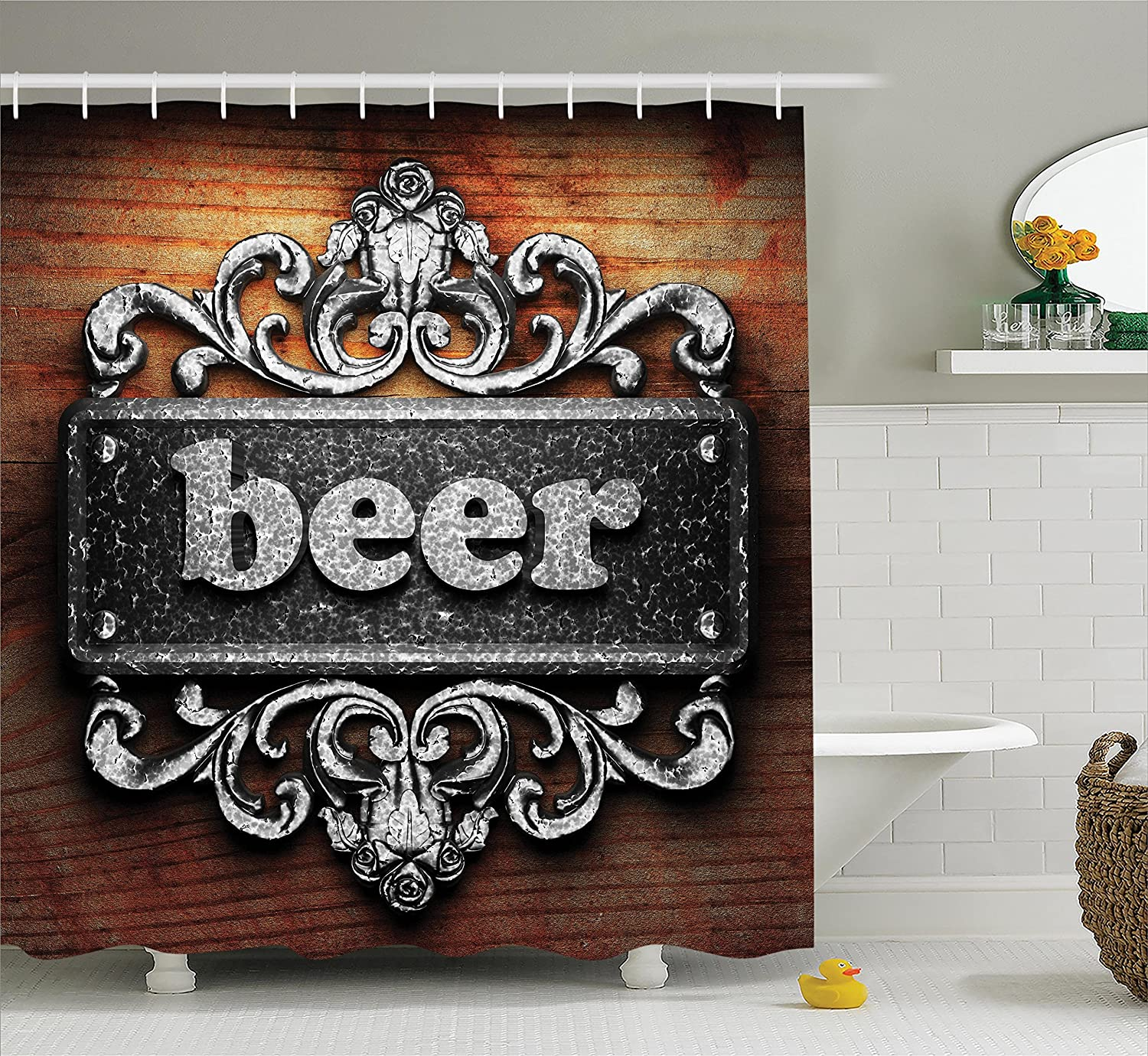 Ambesonne Manly Decor Collection, Silver Word on Ornament Beer Text Wooden Background Ancient Interior Rustic Art, Polyester Fabric Bathroom Shower Curtain, 75 Inches Long, Grey Beer Wood