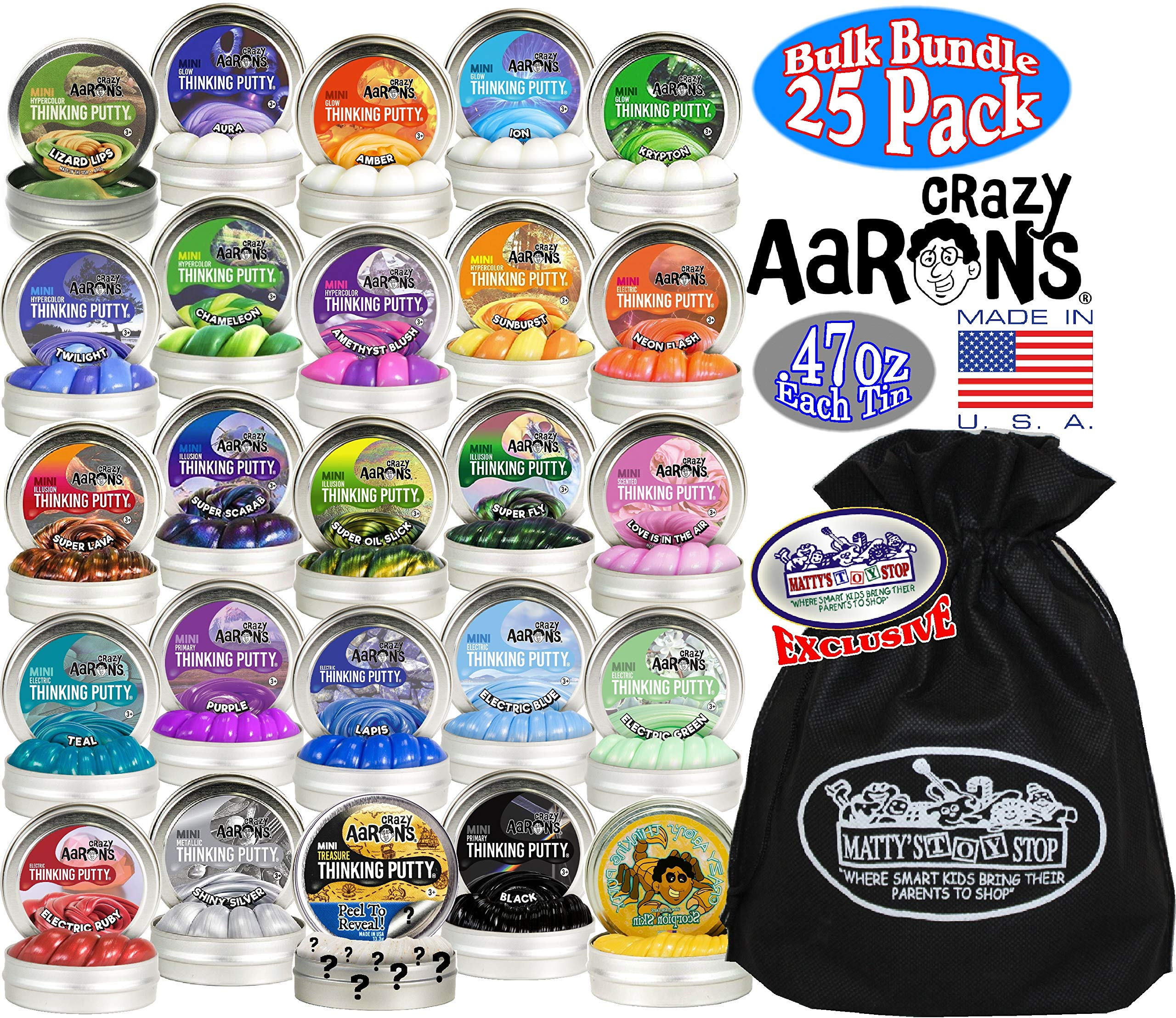 Crazy Aaron's Thinking Putty Mini Tins Deluxe Gift Set Bundle Featuring Glow, Hypercolor, Super Illusions, Scented, Electric, Primary, Metallic & Exclusive Matty's Toy Stop Bag - 25 Pack (.47 oz each) by Crazy Aaron's