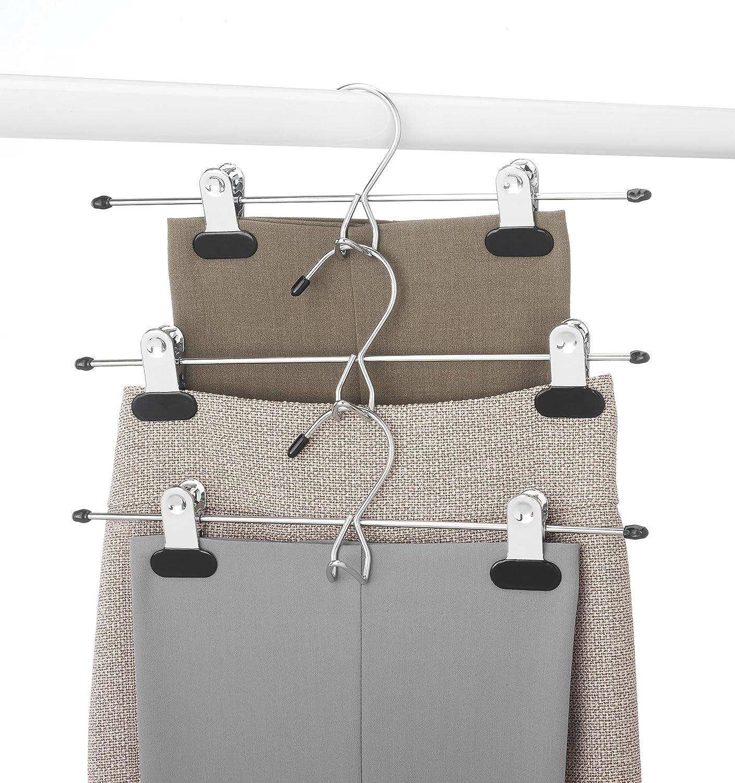 Amazoncom Whitmor Add On Skirt & Slack Hangers Chromeblack (Set