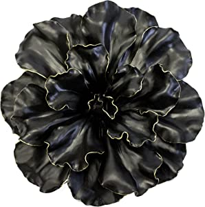 Sagebrook Home 11131 Flower Wall Plaque, Black/Gold Polyresin, 20 x 20 x 5.5 Inches