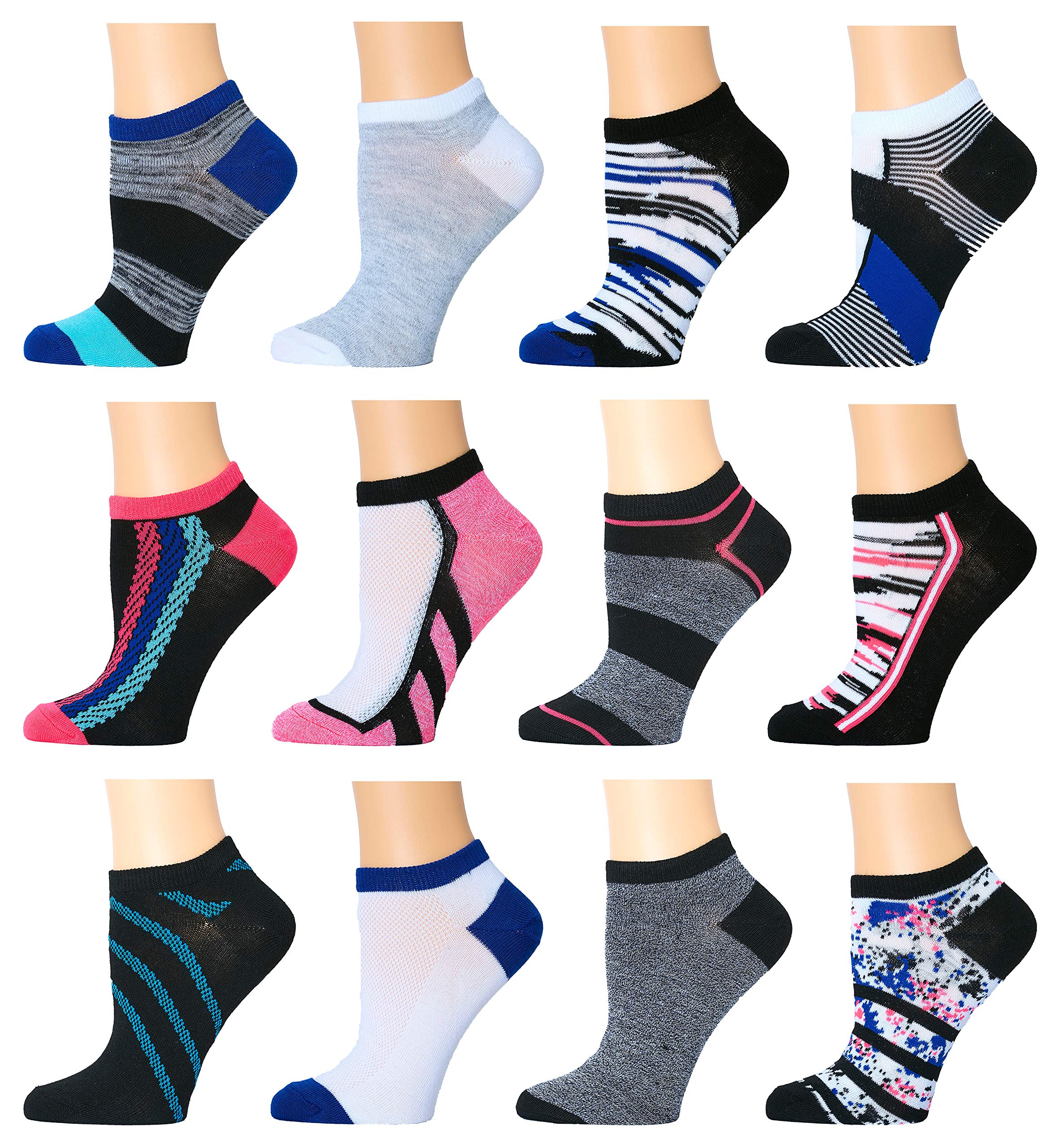 Top Step Women's No Show Athletic Socks - 12 Pack