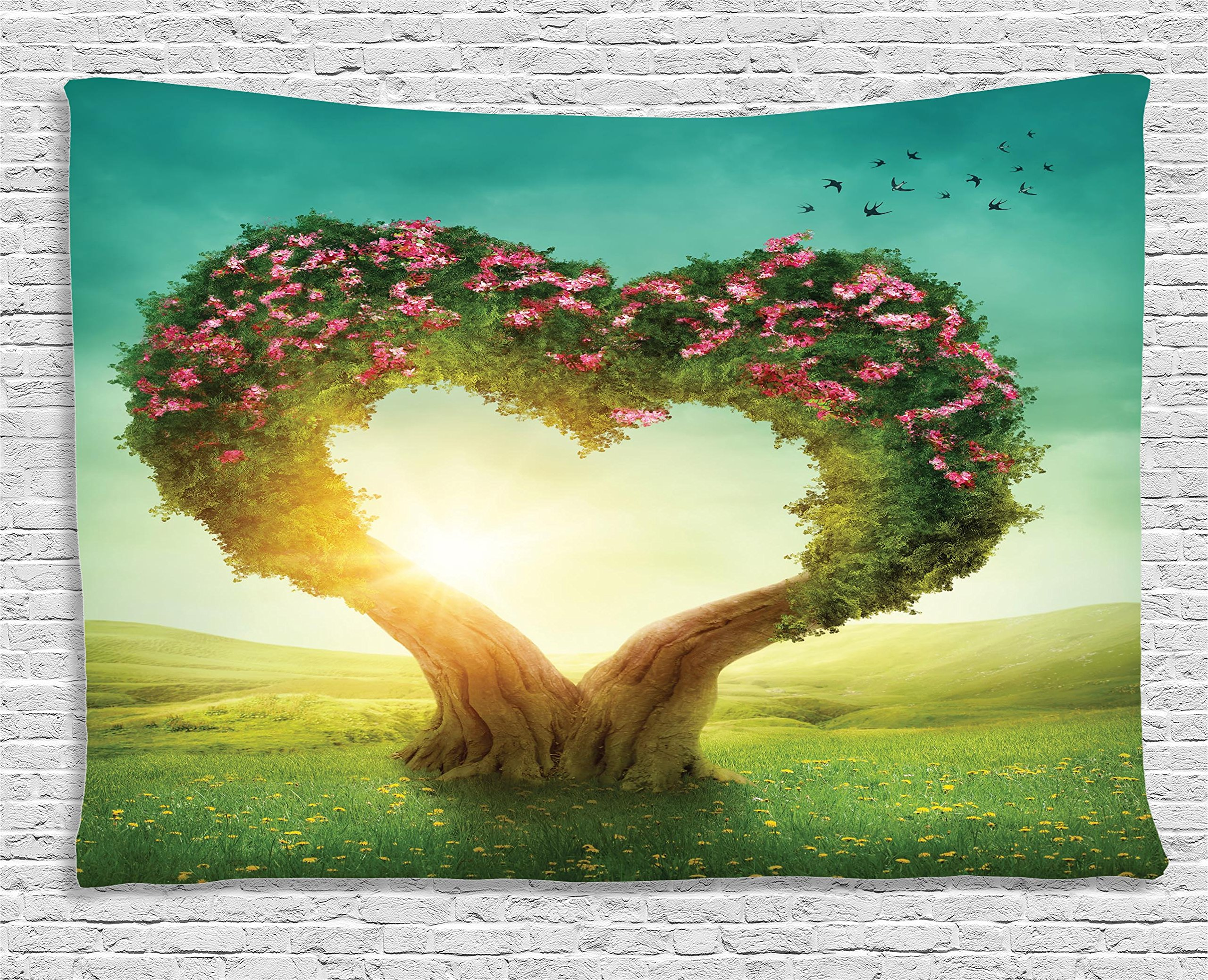 Ambesonne Love Decor Collection, Heart Shaped Tree In The Meadow Grassland Wildflowers Enchanted Fairytale, Bedroom Living Room Dorm Wall Hanging Tapestry, 80W X 60L Inch
