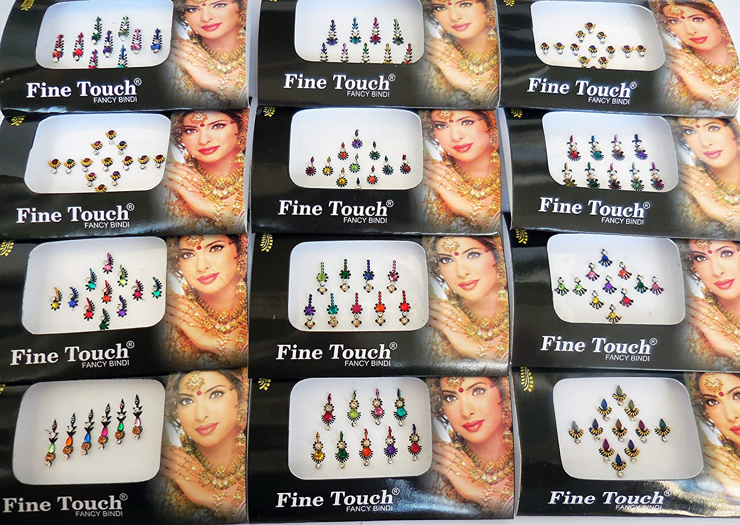 6 Packs- 42 Bindis Mix n Match Face Jewels Bollywood Stickers Indian Bindi Sheesham IVY LLP