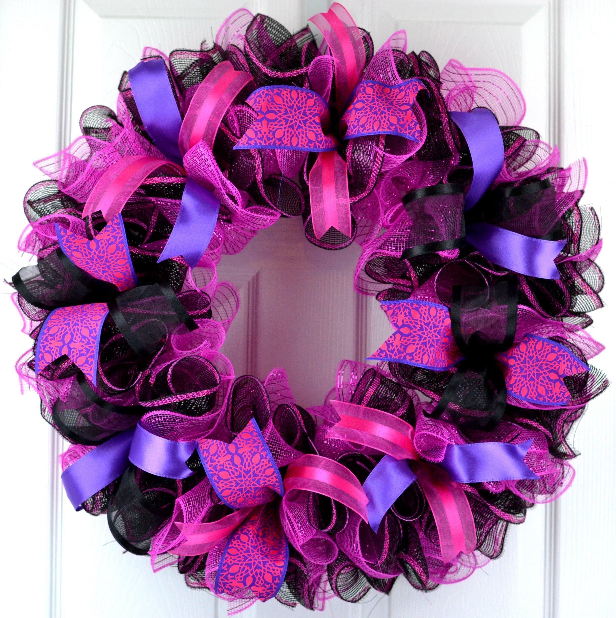 Black Pink Mesh Door Wreath | Everyday Front Door Outdoor Wreath | Black Hot Fuchsia Pink Purple by Pink Door Wreaths