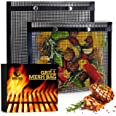 BBQ Mesh Grill Bags - 12 x 9.5 Inch Reusable Grilling Pouches for Charcoal, Gas, Electric Grills & Smokers - Heat-Resistant,