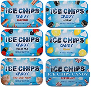 ICE CHIPS Xylitol Candy 6 Tins (Variety Pack); Low Carb, Gluten Free - includes ICE CHIPS BAND as shown