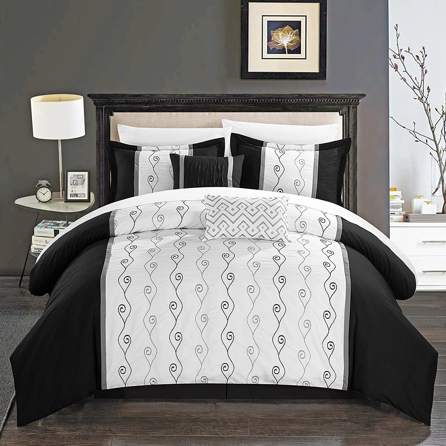 Chic Home Priston 6 Piece Comforter Set Color Block Embroidered Bedding - Bed Skirt Decorative Pillows Shams Included King Black