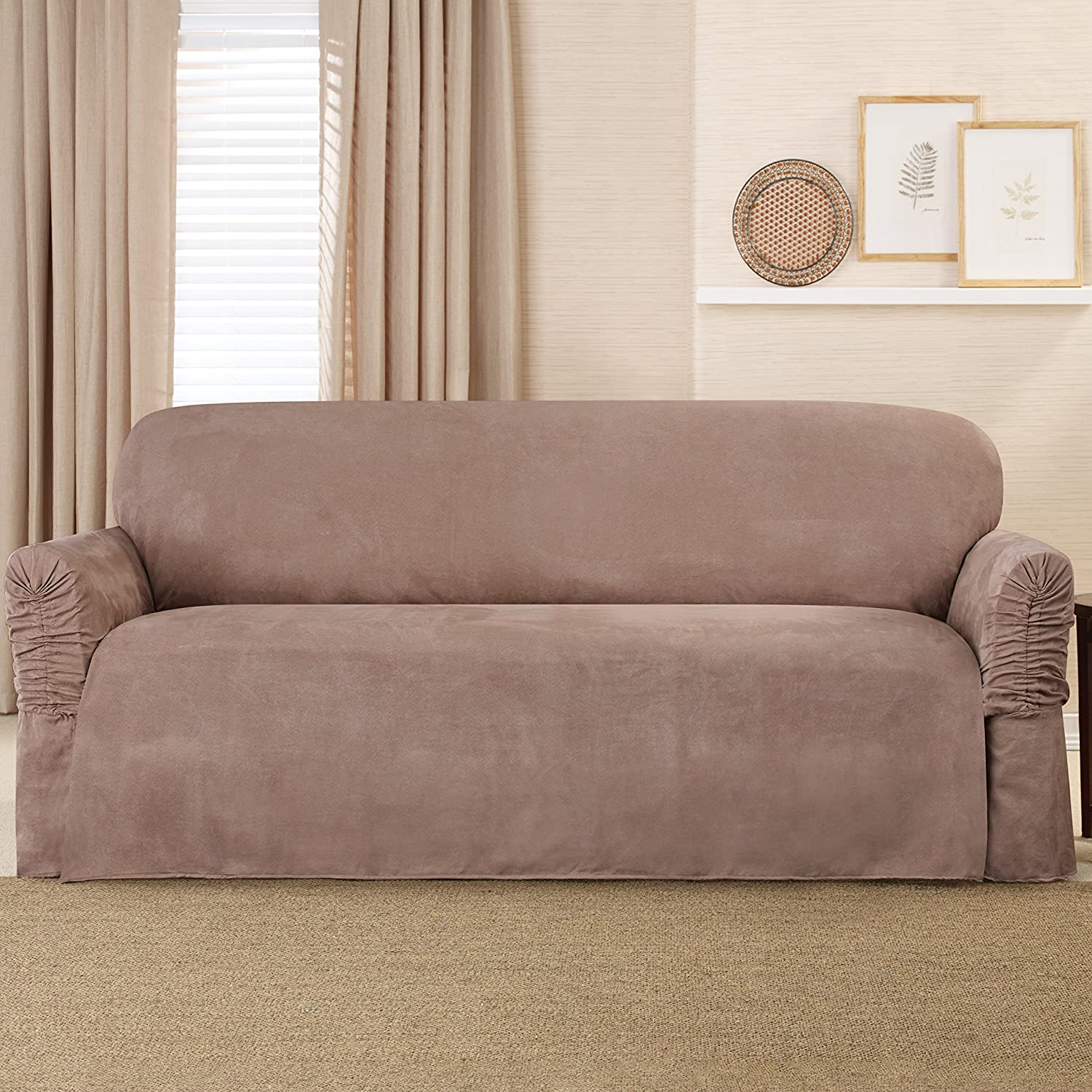 Amazon Sure Fit Faux Suede Sofa Slipcover Taupe SF