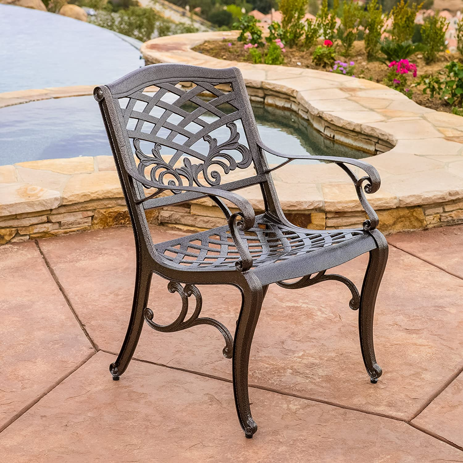 Amazon.com: Covington Antique Bronze Outdoor Patio Furniture 5pcs Cast  Aluminum Dining Set: Kitchen U0026 Dining Part 7