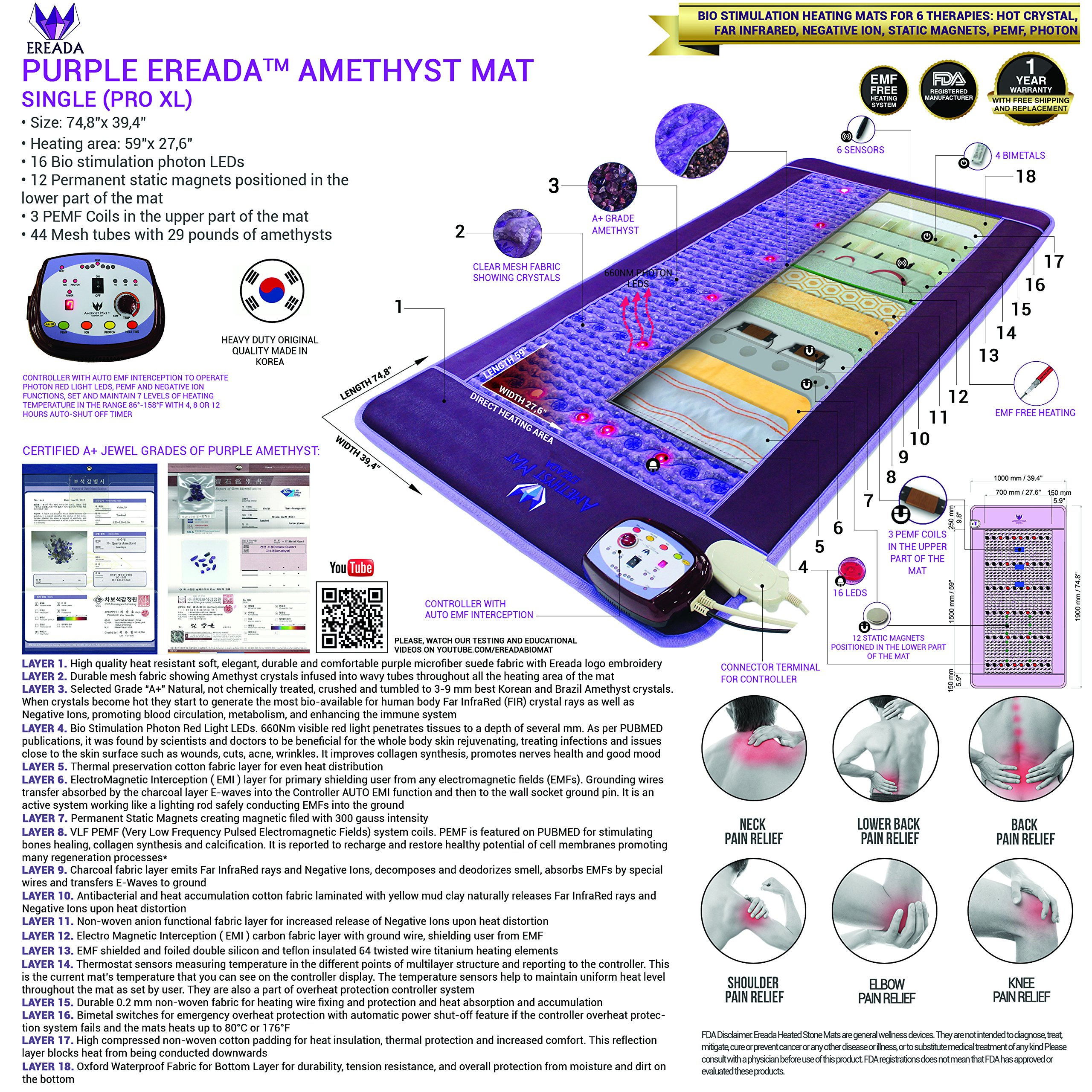 Far Infrared Amethyst Mat - FIR Heat - Bio Magnetic Field - PEMF - Negative Ions - Red Light Photon Therapy - Natural Amethyst - FDA Registered Korean Manufacturer - Purple (Single (XL) 75''L x 39''W) by Bio Amethyst (Image #2)