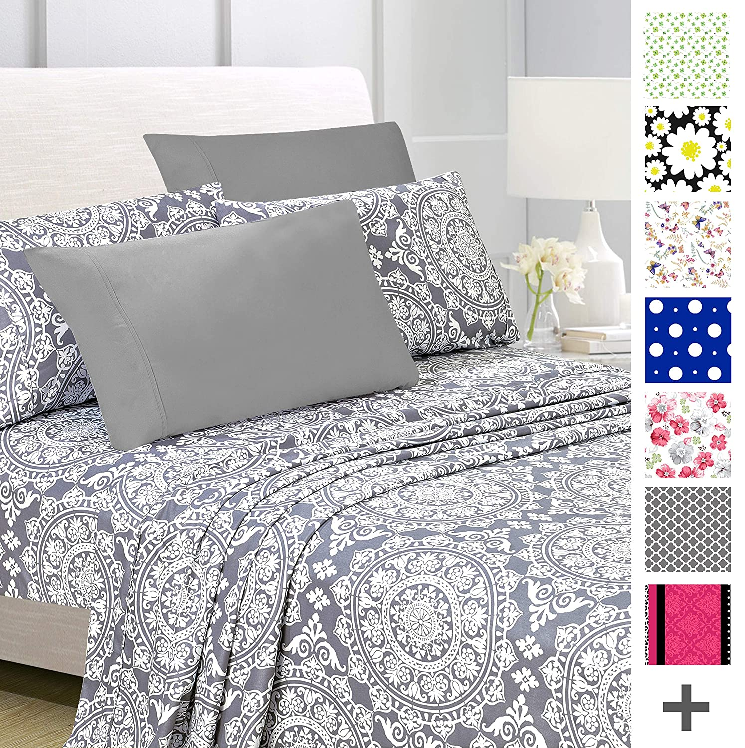 American Home Collection Deluxe 6 Piece Printed Sheet Set Highest Quality Of Brushed Fabric, Deep Pocket Wrinkle Resistant - Hypoallergenic (Queen, Grey Geometric)