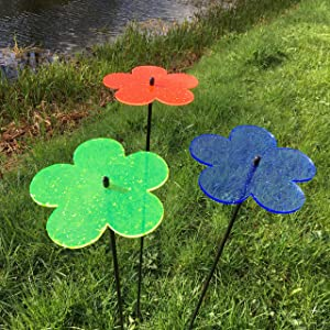 Suncatcher Garden Ornaments Blossom, Set of 3 Large Decorative Garden Stakes, Outdoor Yard Accessory, Great Gardeners Gift, Colour:Orange/Blue/Green