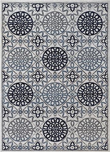 Well Woven Malaga Caspian Modern Floral Suzani Blue Area Rug