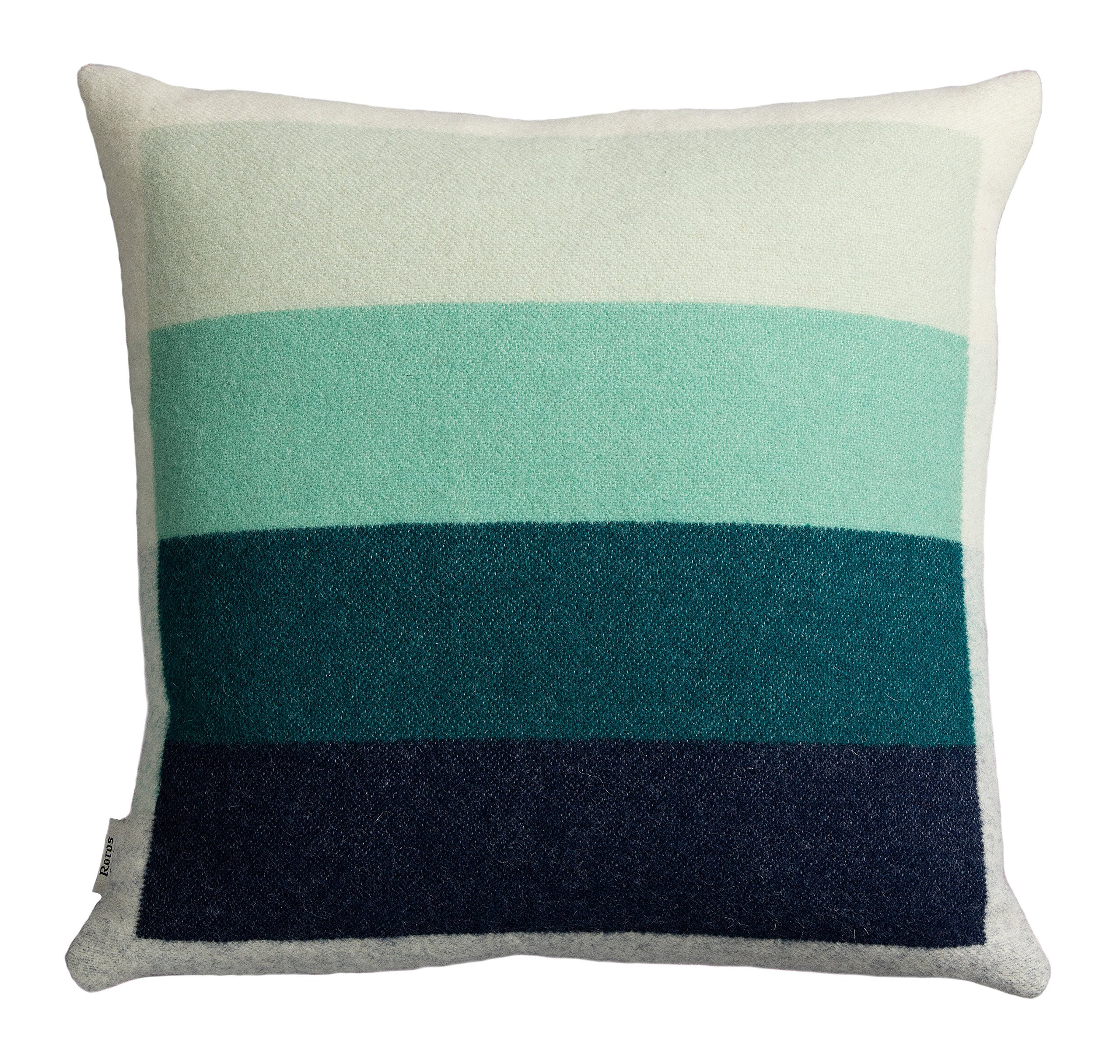 Roros Tweed Designer 100% Norwegian Wool Pillow Cushion (Asmund Bold in Red/Turquoise)