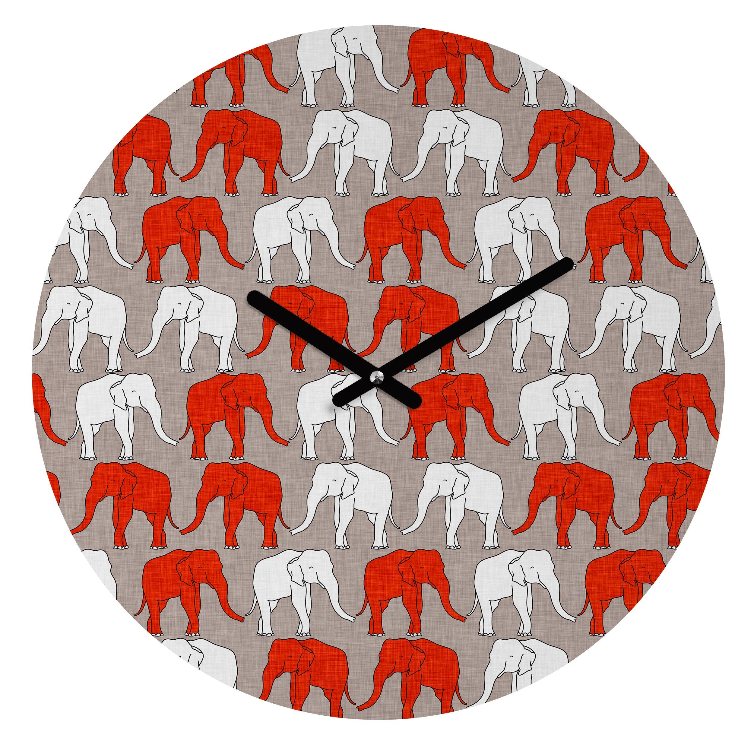 Deny Designs Holli Zollinger,  Elephant Walk , Round Clock, Round, 12'' by Deny Designs