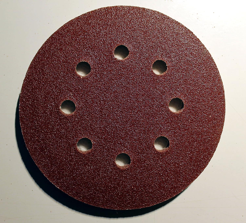 1 Blatt Gratis 8-Loch K/örnung gemischt je 20 Blatt K40//K60//K80//K120//K180//K240 120 Blatt Klett Exzenter Schleifpapier /Ø125 mm