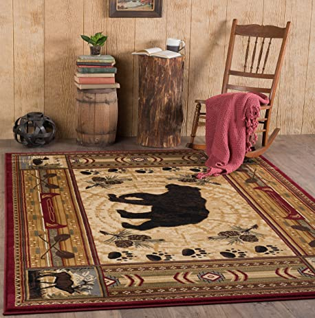 Universal Rugs Black Bear Novelty Lodge Pattern Brown Rectangle Area Rug,  ...