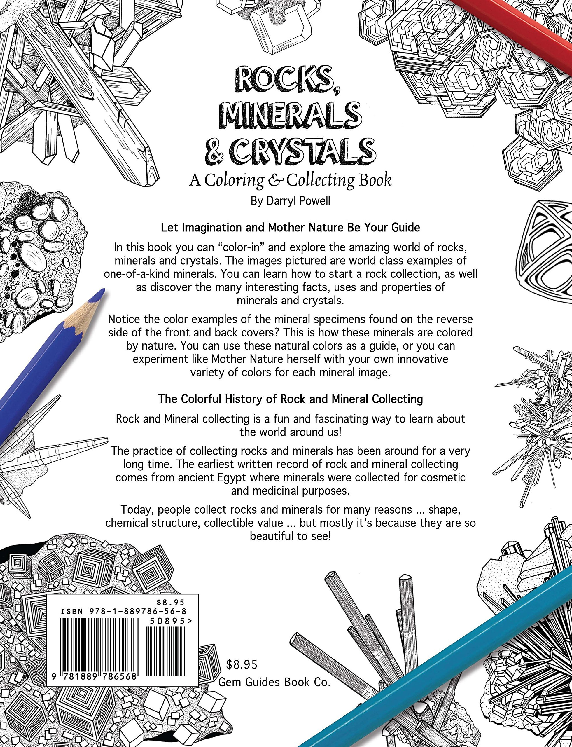 rocks minerals crystals a coloring collecting book darryl powell 9781889786568 amazoncom books