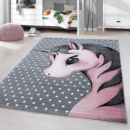 a Pelo Corto per cameretta dei Bambini Grigio e Rosa m/élange Pink Tappeto per Bambini HomebyHome Motivo a Stella 100/% Polipropilene 80 x 150 cm