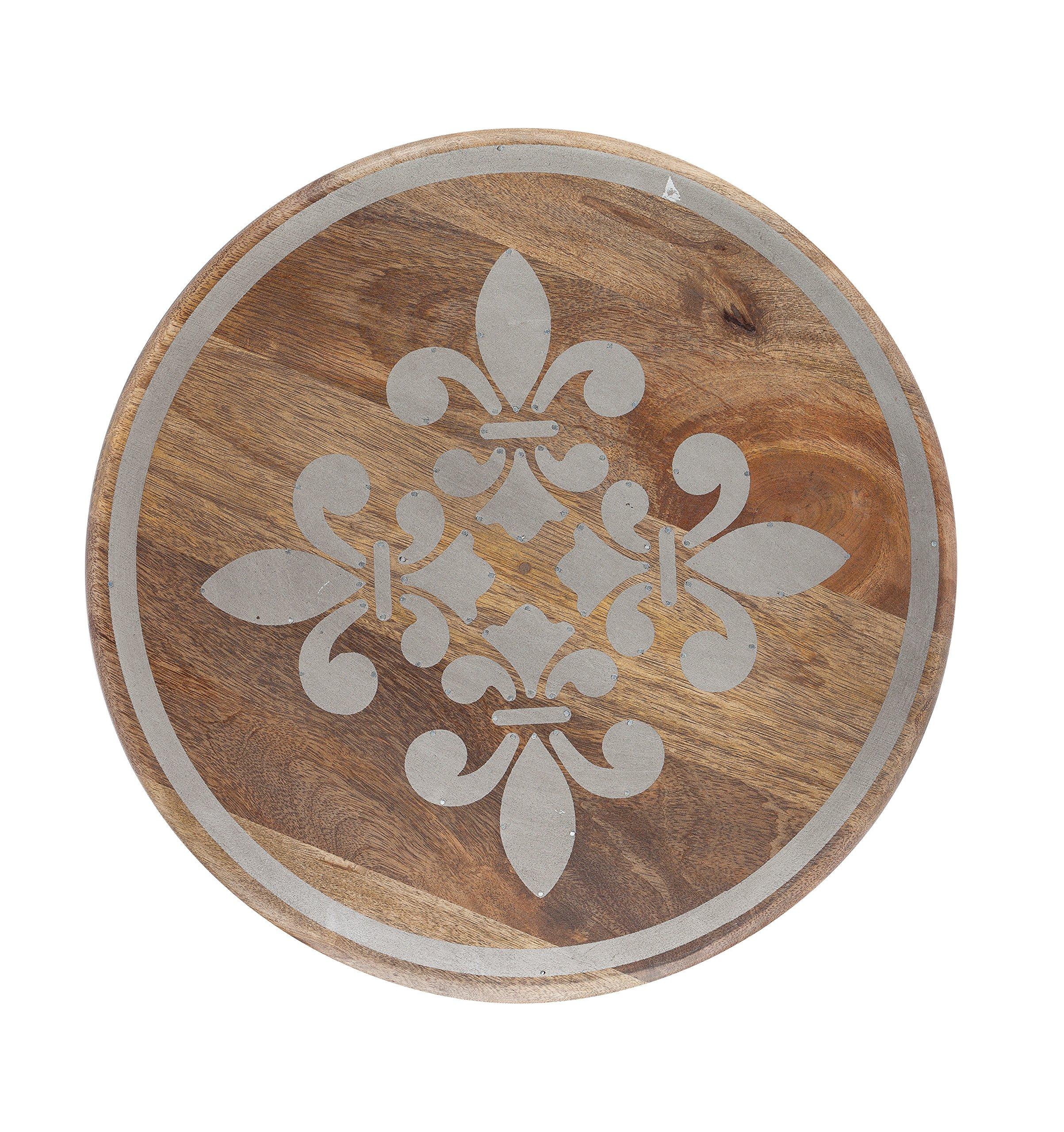 The Gerson Company 93533 16''D Meadowlark Home Collection Hand Made Mango Wood Fleur De Lis Pattern Lazy Susan