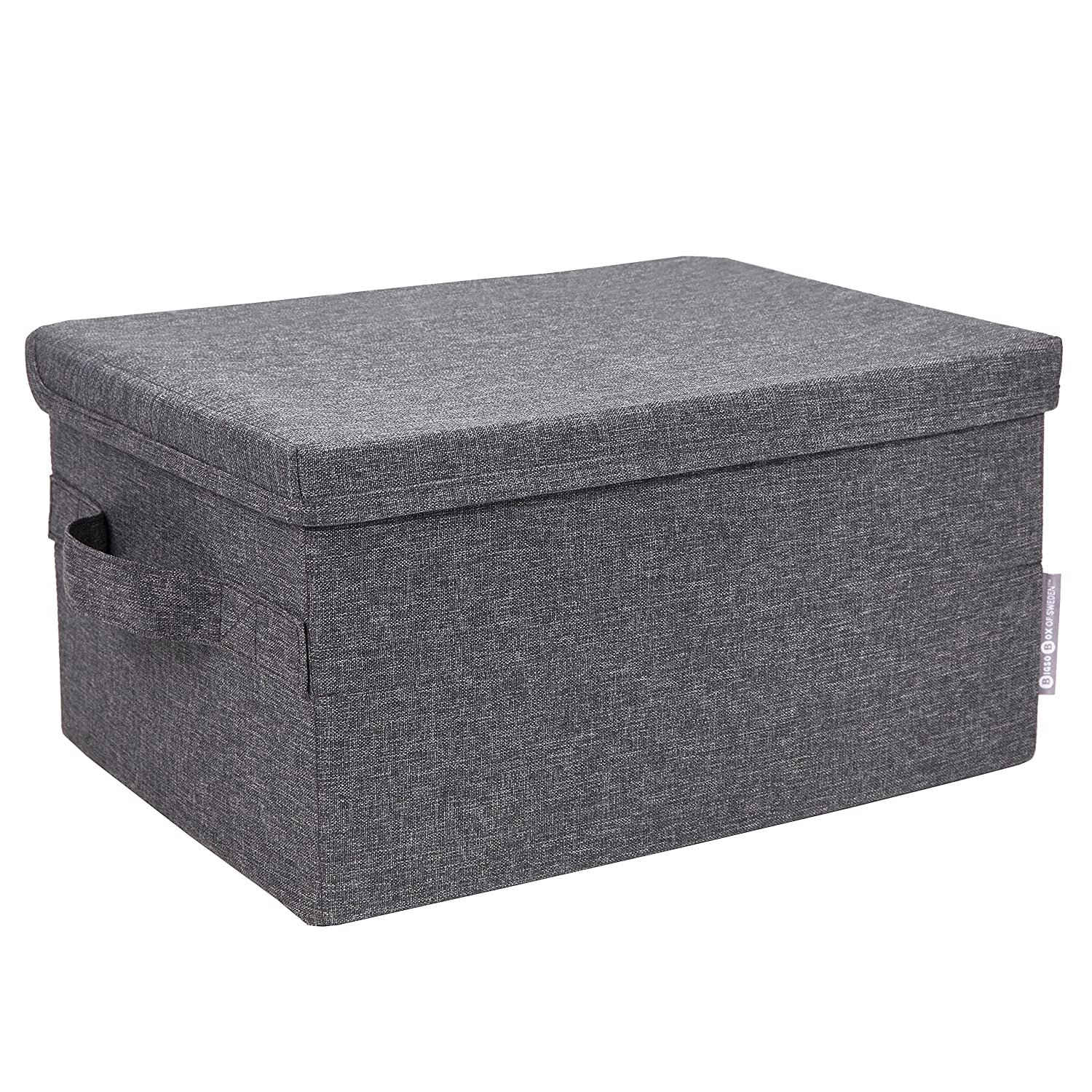 Bigso Soft Storage Box with Lid, Small, Grey 1012