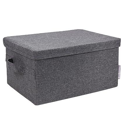 Bigso Soft Storage Box With Lid Small Grey