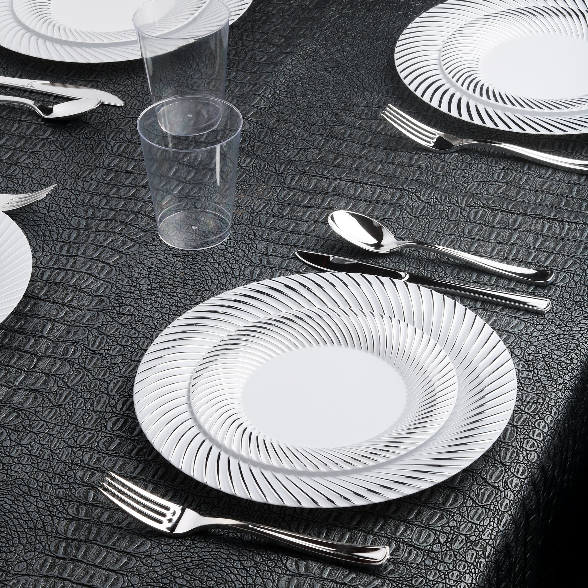 Kaya Collection - Swirl Silver Disposable Plastic Dinnerware Party Package - 60 Person Package - Includes Dinner Plates, Salad/Dessert Plates, Silver Cutlery and Tumblers by Kaya Collection