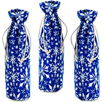 Hallmark Holiday Drawstring Fabric Bottle Bags (Pack of 3: Navy Blue with White Snowflakes) for Christmas, Hanukkah…