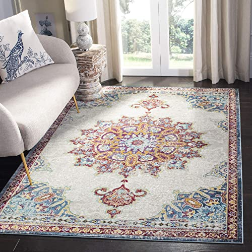 Safavieh Aria Collection ARA103A Ivory and Navy Area 5 1 x 7 6 Rug