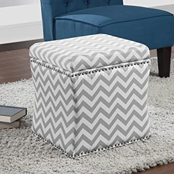Groovy Amazon Com Metro Shop Curved Grey Chevron Storage Ottoman Caraccident5 Cool Chair Designs And Ideas Caraccident5Info