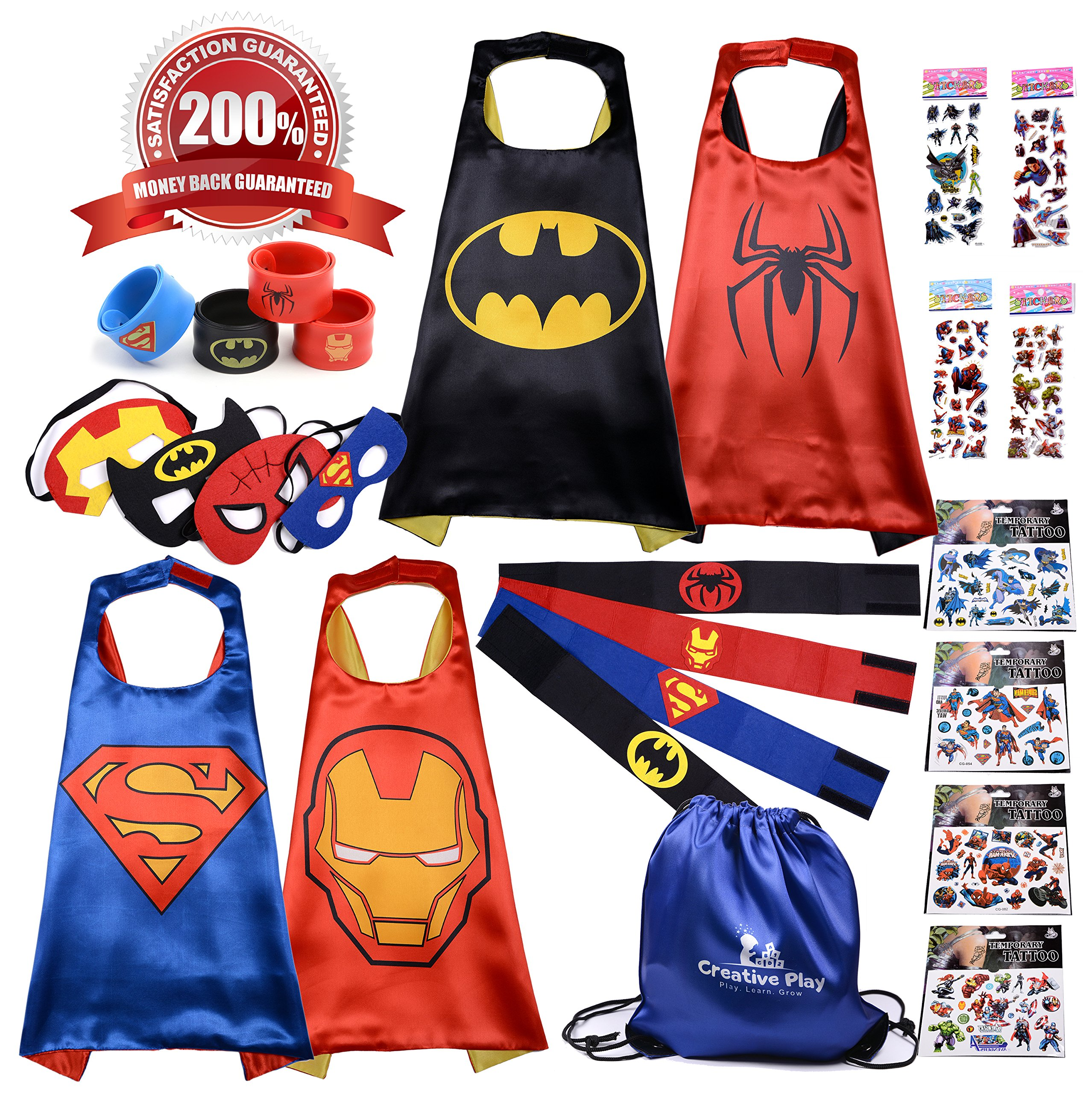Superhero Capes for Kids | 4 x Premium Complete Costumes | Great Gift Idea