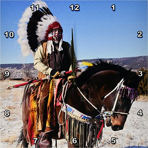 3dRose DPP_92657_3 Native American Indian, Alcalde, New Mexico US32 JMR0305 Julien McRoberts Wall Clock, 15 by 15