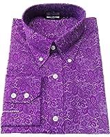 Retro Mod Vintage Paisley 100% Cotton Button Down Shirt`s In 3 Colours FREE POSTAGE