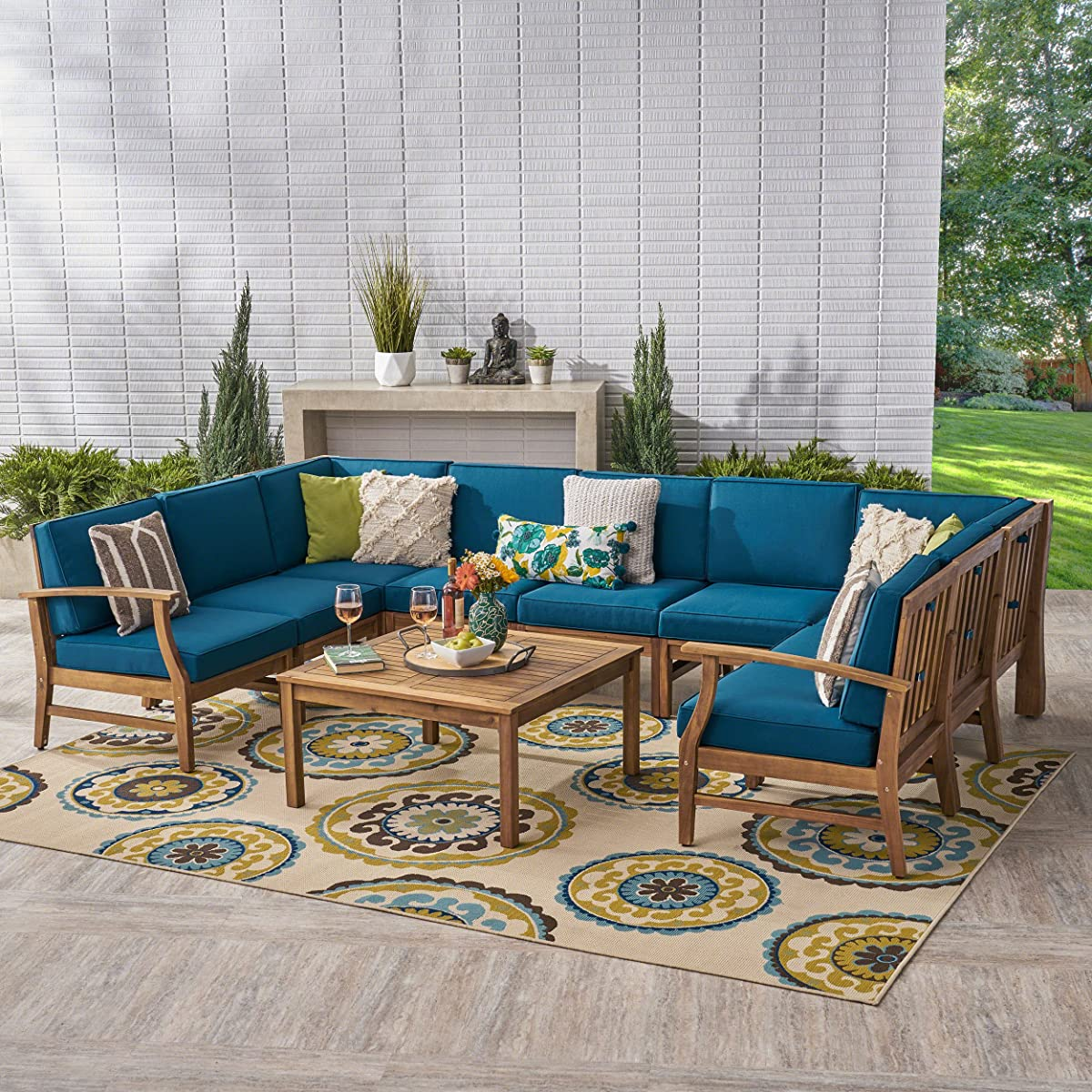 Great Deal Furniture Judith Outdoor 9 Seater Acacia Wood Sectional Sofa Set with Cushions, Teak with Blue Cushions