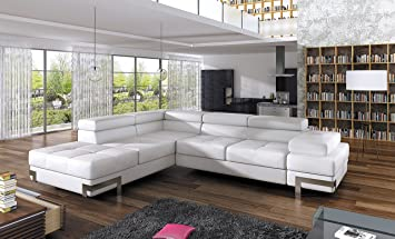 Superbe BMF U0026quot;EMPORIOu0026quot; WHITE MODERN Corner Sofa CHROME LEGS Bed Storage  Faux Leather Or