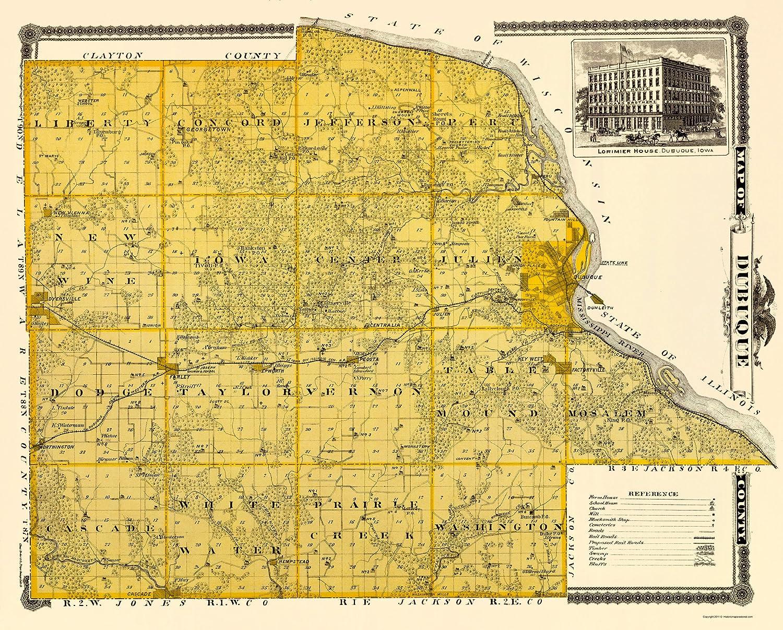 Cascade Iowa Map.Amazon Com Old County Map Dubuque Iowa Landowner Andreas 1874