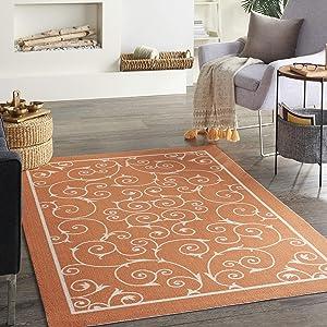 Nourison Home & Garden Indoor/Outdoor Orange 4' x 6' Area Rug , 4'3